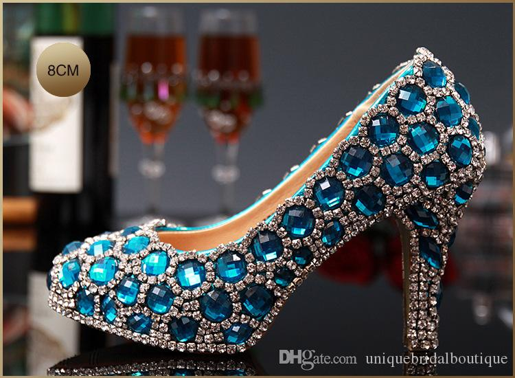 2016 Beautiful Blue Homecoming Shoes for Girls High Heels 14cm 12cm 10cm Bling Bling Crystals Wedding Shoes for Brides Bridal Party Shoes