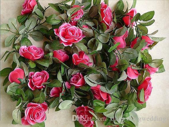 "Flower Ivy Garland 86""Artificial Silk Rose Garland Fake Flower Ivy Leaf Vine Plants Home Hanging Wedding Decor"