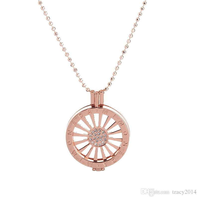 Rose Gold Coin Men woman fit for Sweater Pendant necklaces Jewelry Floating lockets pendants flower Mi Moneda coin round coins with crystal