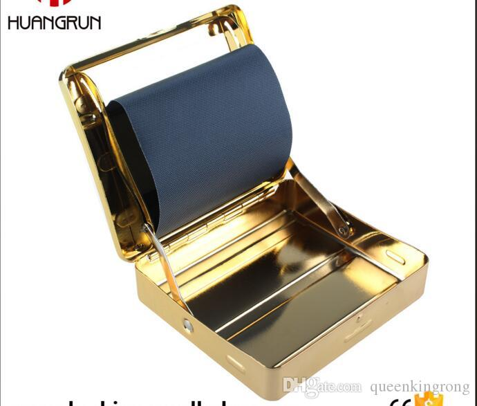 new arrive golden Automatic Metal Cigarette Roller Tobacco Rolling Machine Smoking Cigarette Roller Box Case 70mm Gold Tools Accessories