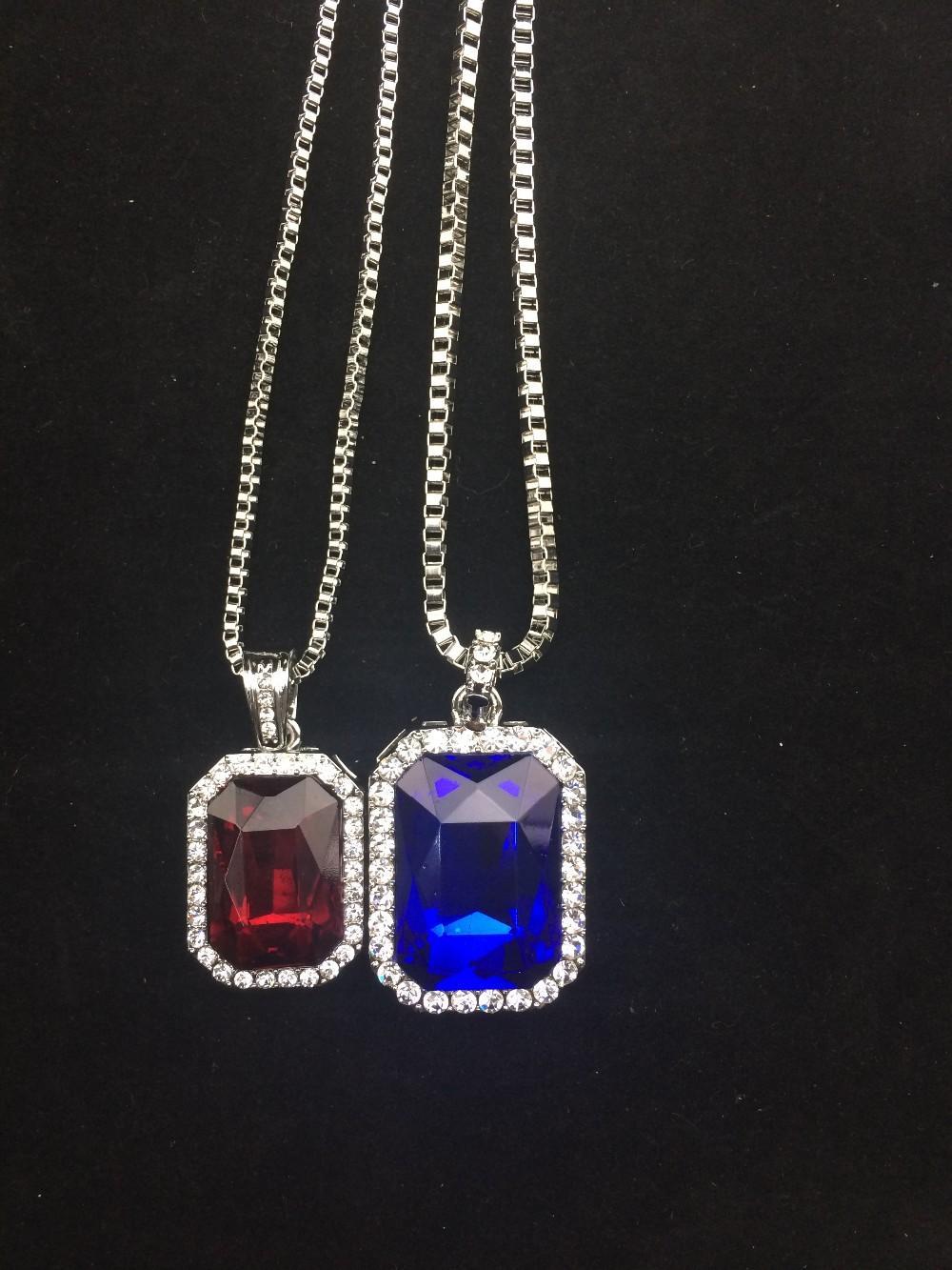 Quadrado gelado para fora hip hop jóias laboratório diamante pingente colar conjunto de pedra prateado rapper com corrente