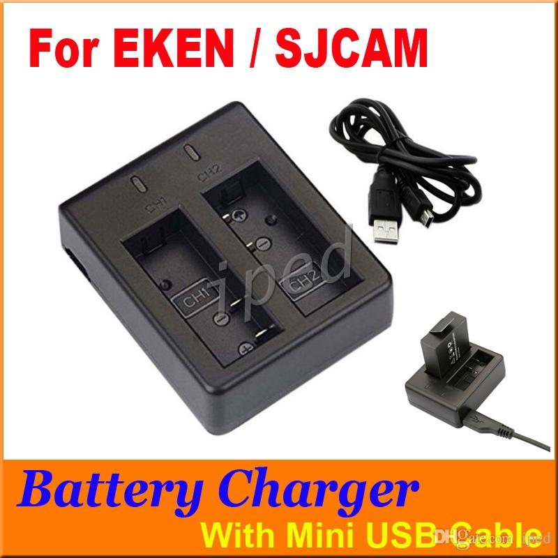 SJCAM EKEN Action Camera Accessories Battery Dual Charger For SJ4000 SJ5000 M10 with USB Cable H9 W9 A9 G2 DHL