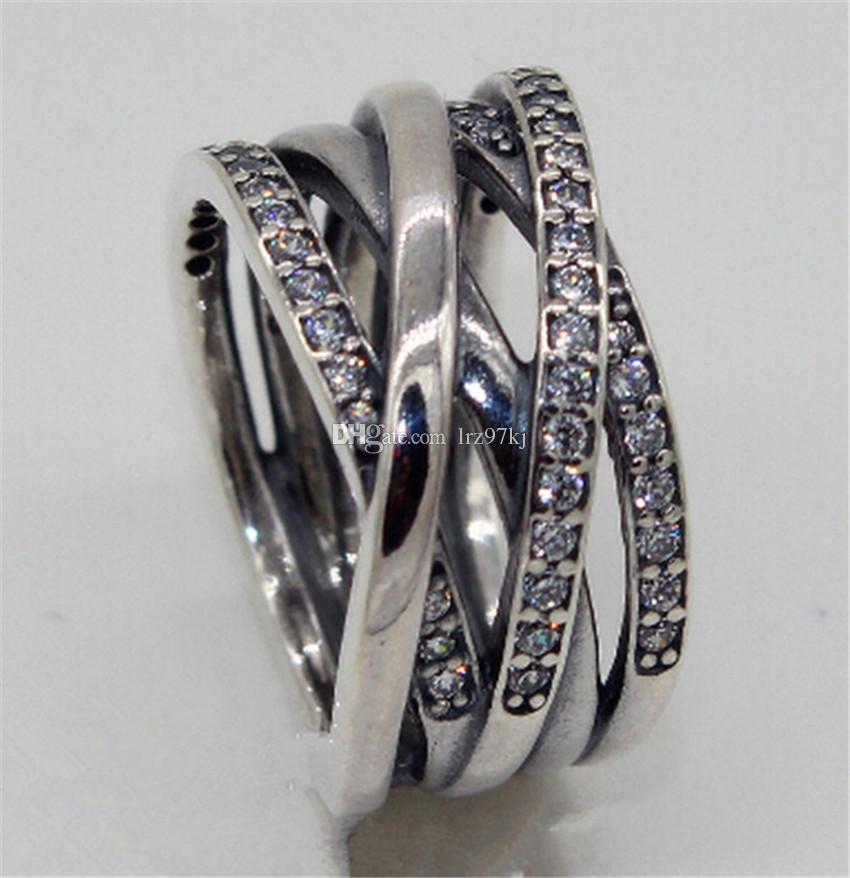 حار 100٪ 925 الفضة الاسترليني عصابة تتشابك مع زركون الأزياء والمجوهرات سحر الدائري المرأة الدائري الأوروبي باندورا نمط الدائري