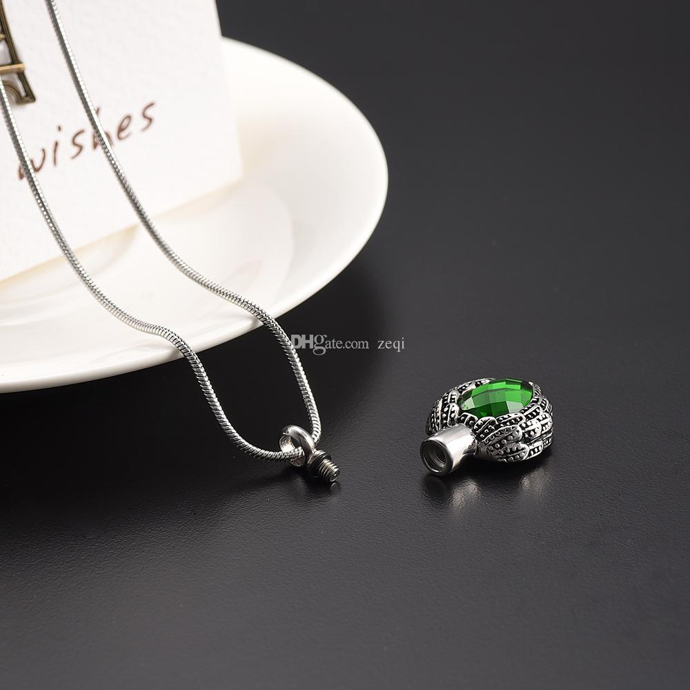 IJD8719 Water Drop Rhinestone Memorial Ashes Keepsake Urn Pendant Necklace Stainless Steel Funeral Ash Urn Necklace