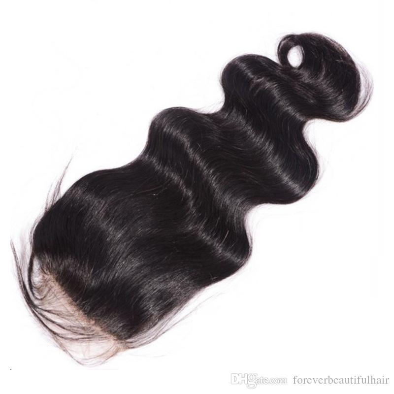 Chiusura superiore della seta brasiliana 4 * 4 chiusura del pizzo di base della base di seta con i capelli del bambino Parte libera 100% di chiusura dei capelli umani pezzo