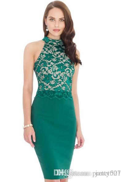 1b98f4fdbcd Elegant Womens Sheath Dresses Hide Hip Lace Panelled Halter Neck Solid  Color S 2XL Bodycon Dresses Sequin Dress Going Out Dresses From Pretty007