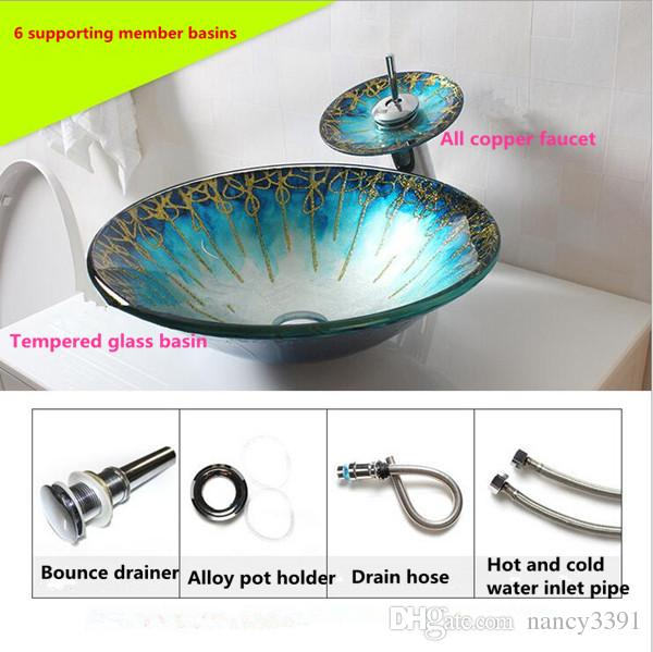 Wash basin Glass Products Bathroom Cleaning Arts Home Decoration Morning Glory Shape Green Waterfall faucet