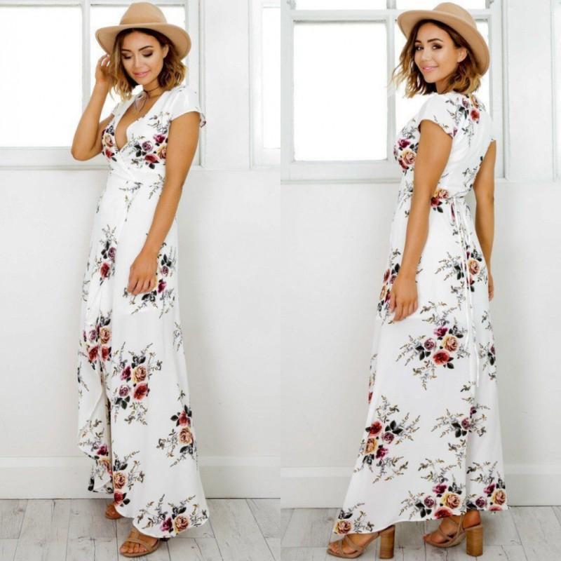 c7f8ee971c8 Femmes Boho style robe longue V-cou manches courtes plage robes d été  Imprimé floral Vintage robe en mousseline de soie maxi robes de festa
