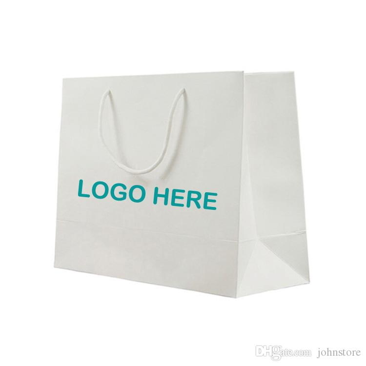 High End White Paper Shopping Bags Personalized Design Trade Show ...