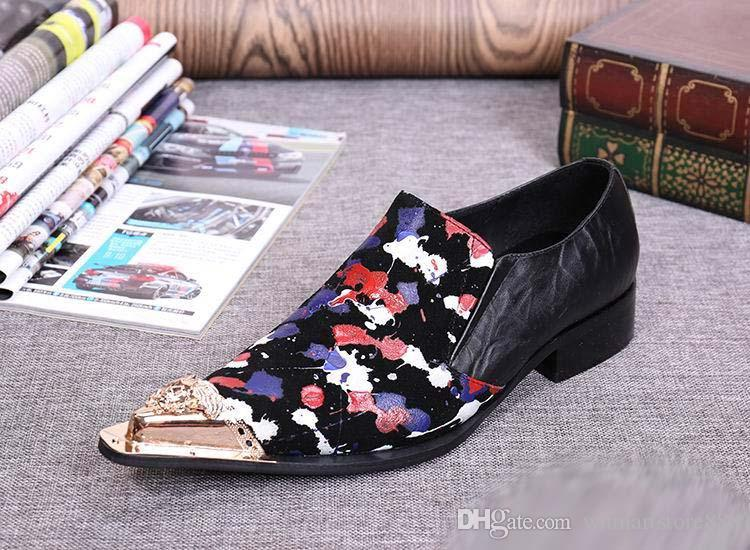British Style Business Leisure Leather Shoes Fashion Metal Charm Pointed Toe Slip On Graffiti Casual Party Shoes Stage Show