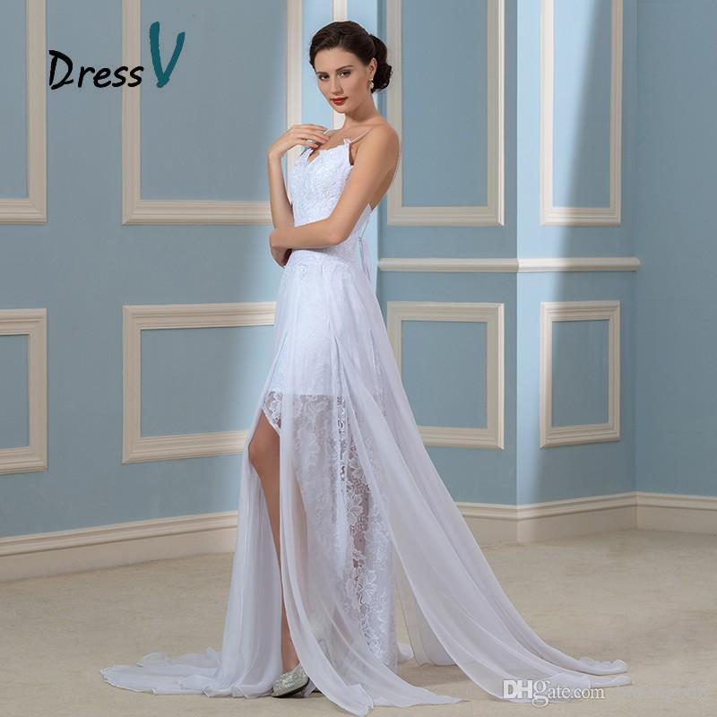Fashionable Chiffon Lace Beach Wedding Dresses 2018 Boho Spaghetti ...