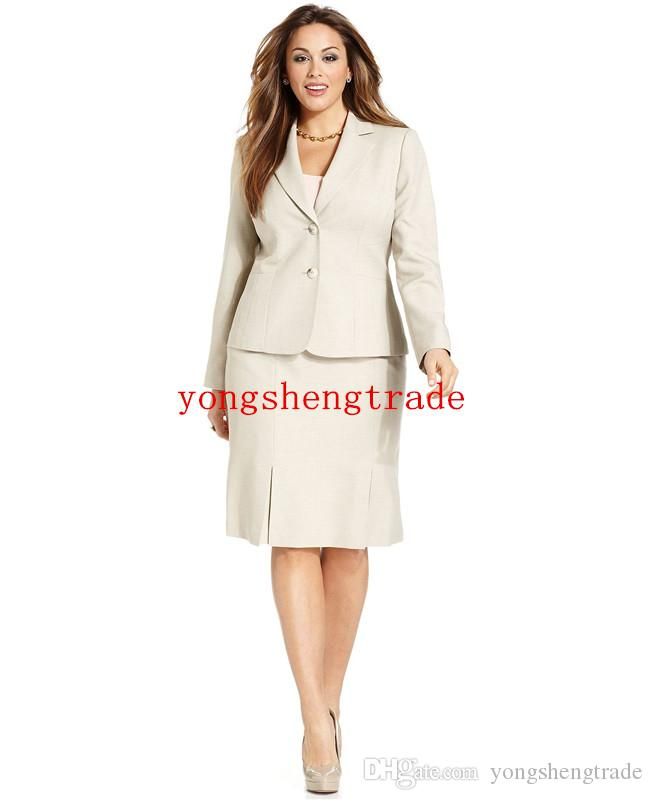 Custom Made Woman Suit Begie Women Suit Plus Size Two-Button Blazer & Plus Size Pleated-Hem Pencil Skirt Notch collar HS7952