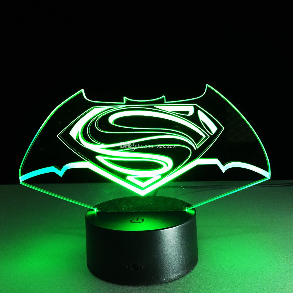 2017 Hot Superman 3D Optical Night Light 9 LEDs Night Light DC 5V Colorful 3D Lamp Touch Control Switch
