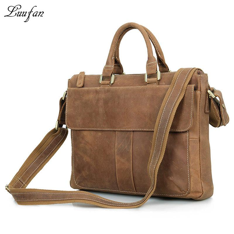 553dd38bb47d Wholesale- Men s Crazy Horse Leather Briefcase 15 Real Leather ...