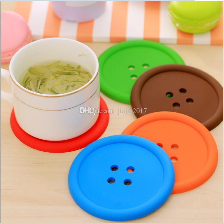 Cute Colorful Silicone Button Cup Cushion Holder Drink Tableware Coaster Mat Pads