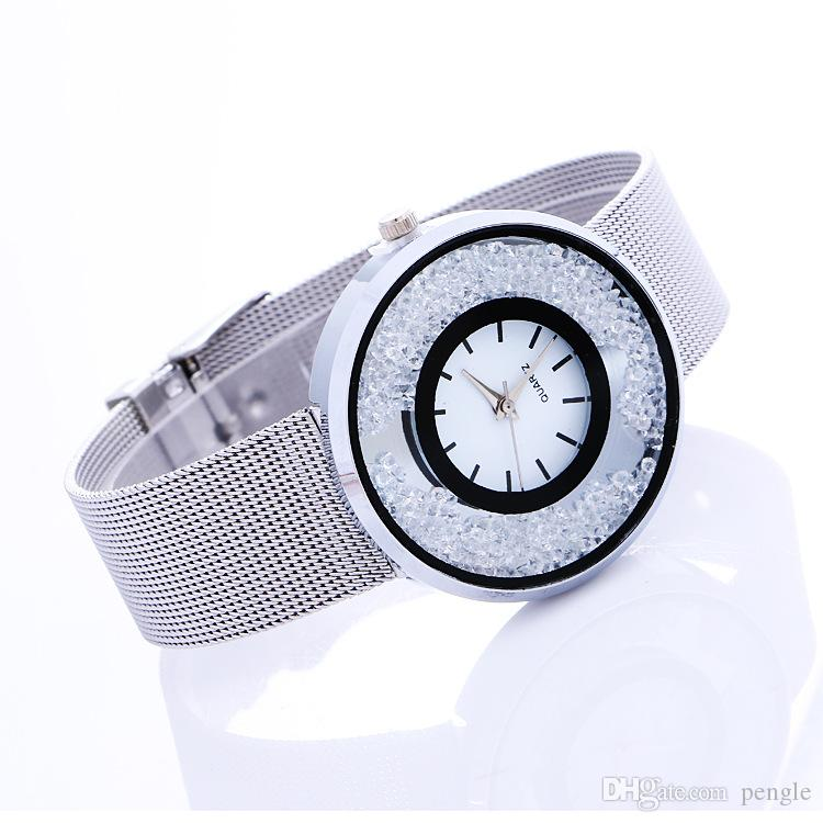 New Women Geneva Watch Korean Alloy Band Round Dial Charming Bracelet Wrap Watch Mix Colors Christmas Gift