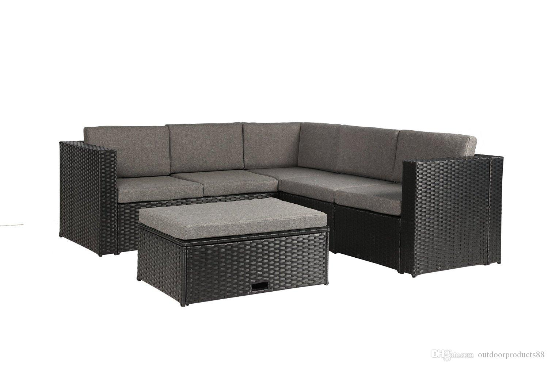2018 garden outdoor furniture complete patio pe wicker rattan garden corner sofa couch set blackrattanwicker table chair sofa sets from outdoorproducts88 - Garden Furniture Corner Sofa