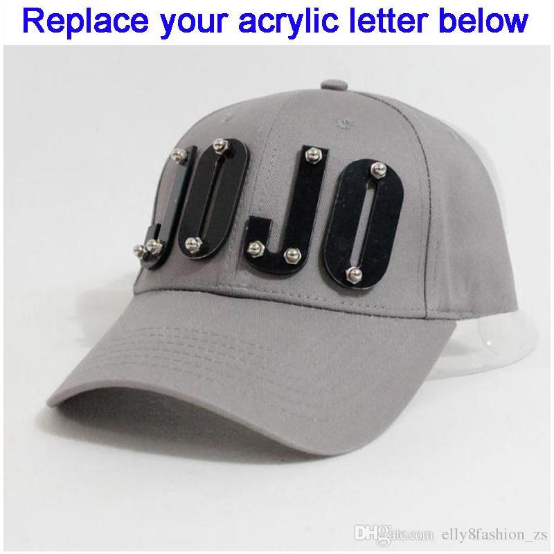 Snapbacks personalizados letras acrílicas 3D remaches clavos atornillados  visera curva acrílico sombreros al por mayor Gorra ajustables de camionero  ... c07b4357e9e