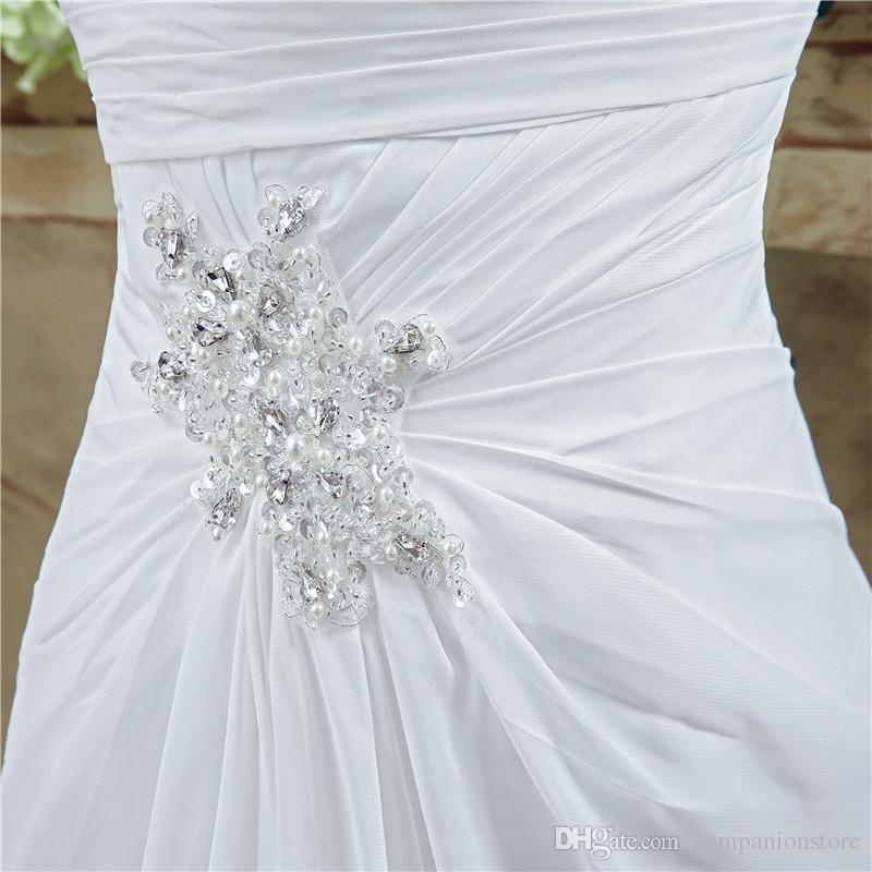 Real Photo White Ivory Slit Side Beach Vestido de novia de gasa Vestido De Noiva 2017 Una línea de cristal de abalorios Abiti Da Sposa