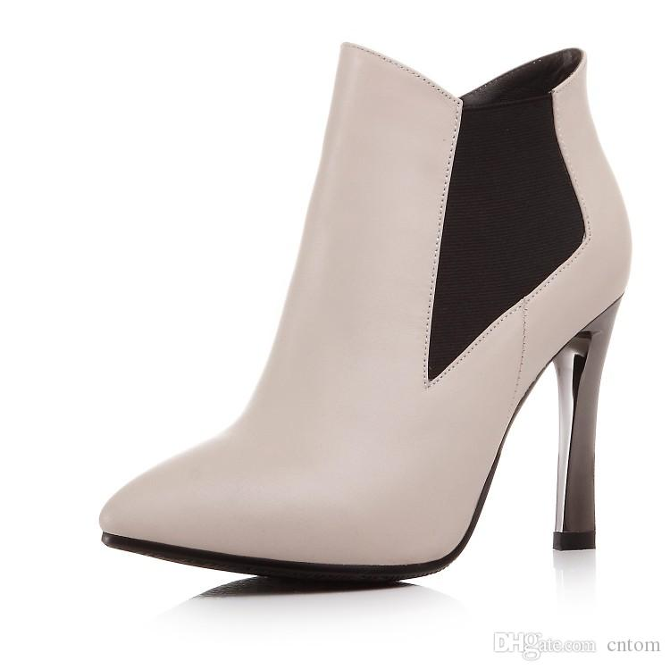 Boots genuine leather beige pointed toe shoes ultra high heels small yards high heel 9.5CM Platform 1CM EUR Size 32-39