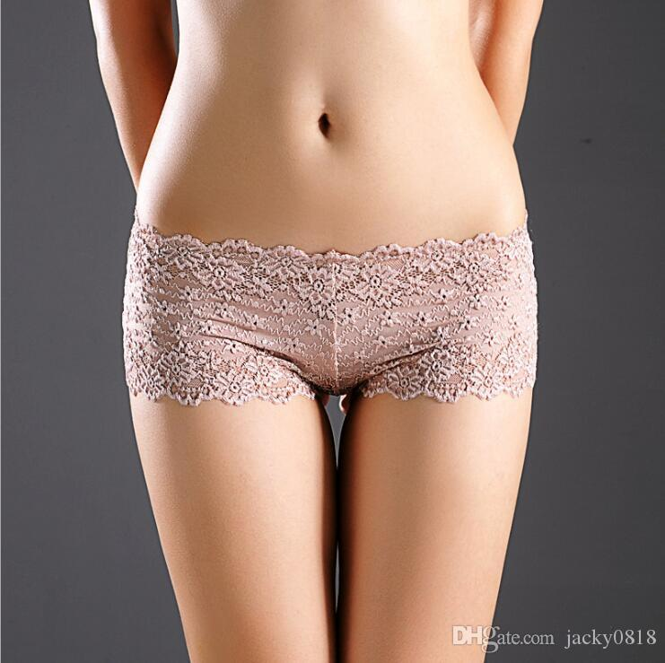 505bbb54446 2019 Sexy Brand Underpants Women Boxer Shorts Lace Panties Boyshort Female  Knickers Full Lace Transparent Boxers Underwear From Jacky0818