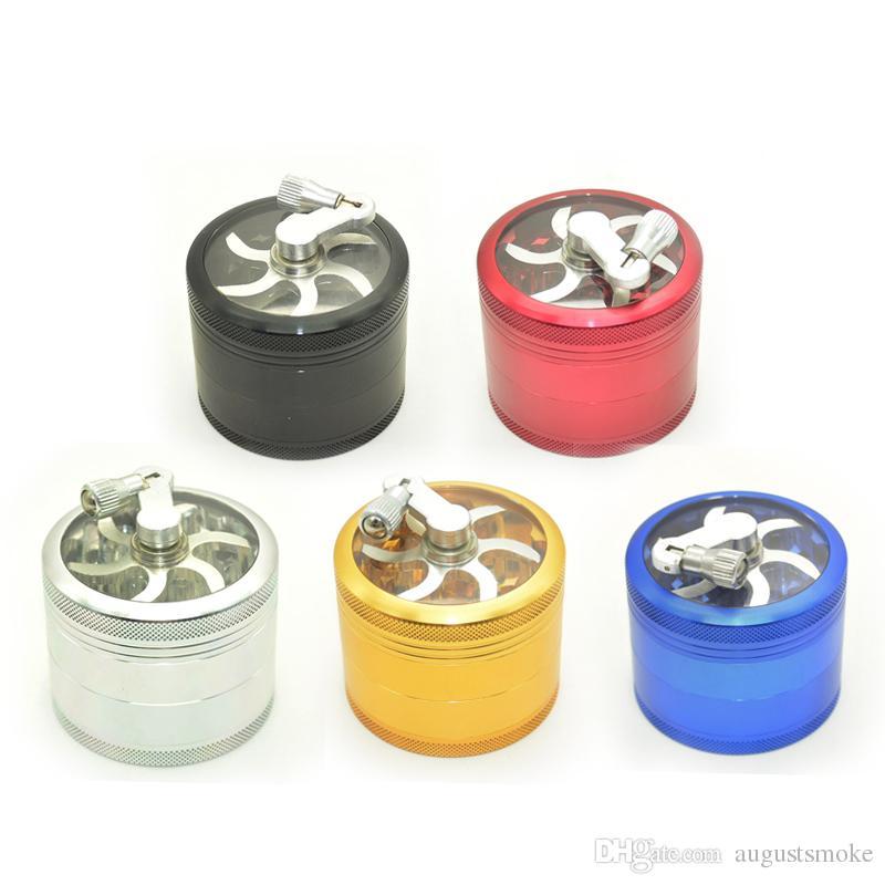 trituradora de dientes de sierra de aluminio con mango polen rodante Amoladoras de humo 4 capas Amoladora de hierba molinillo de tabaco nuevo