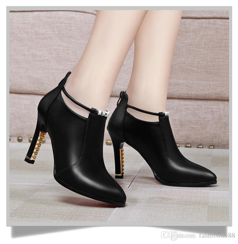 High heels 2017 autumn new wild tip single shoes female thin with waterproof Taiwan black ladies shoes