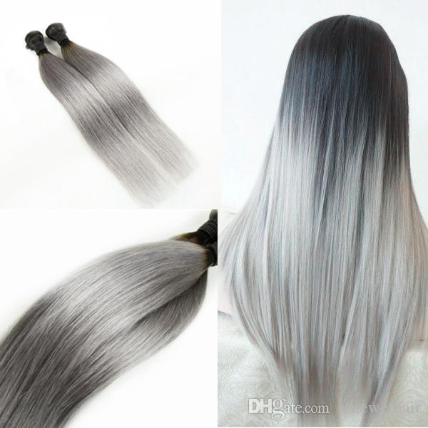 300g Ombre Silver Grey Human Hair Extensions Straight Two Tone T1b