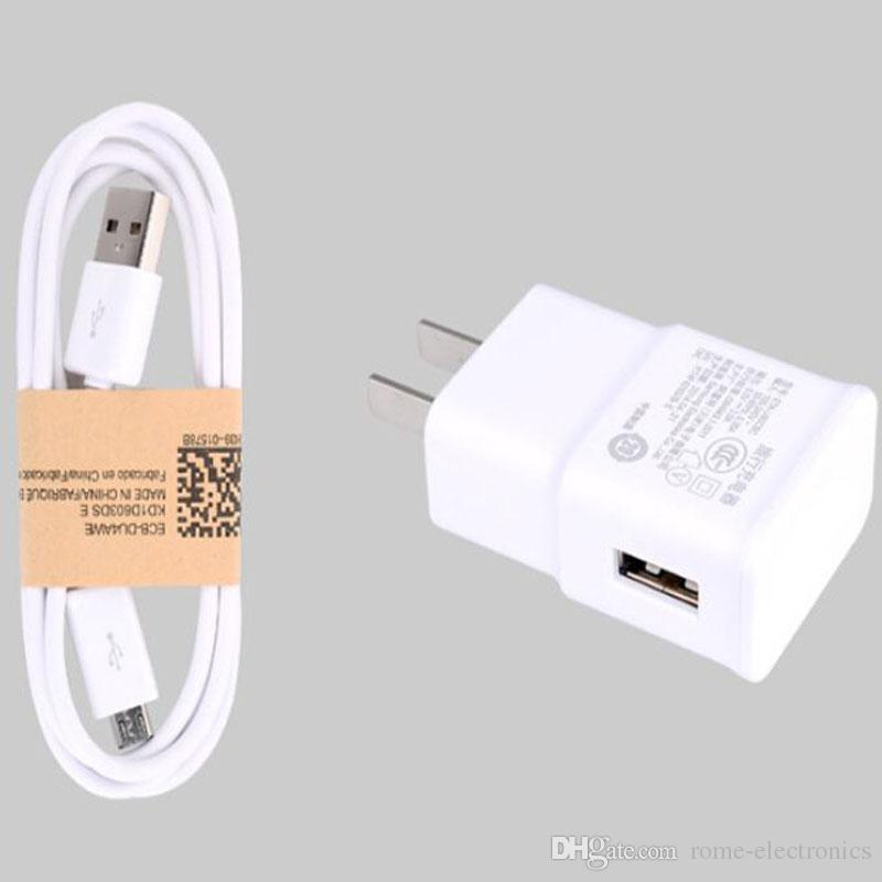 5V 1A EU US Wall Charger Power Plug + Micro USB Cable for Samsung Galaxy S4 i9500 S3 i9300 Note2 N7100 2 in 1 Black White color