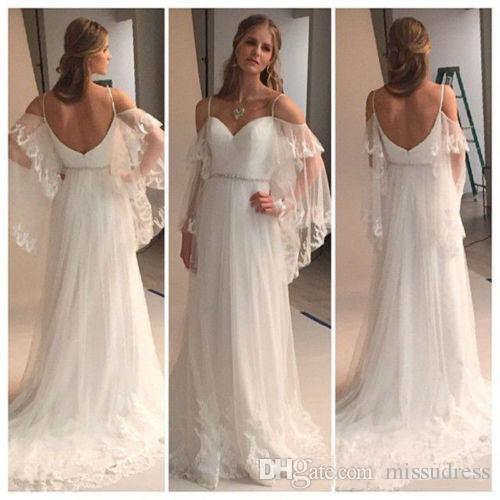 Vestidos De Gala 2016 Summer Beach Wedding Dresses Spaghettis Straps Off the Shoulder A-line tulle Bridal Gowns
