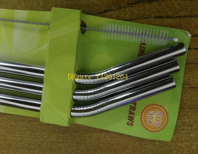 무료 배송 1Sset = 9.5 * 215mm 벤드 스테인레스 스틸 빨대 금속 마시는 짚 소매 패키지 1 짚으로 브러시