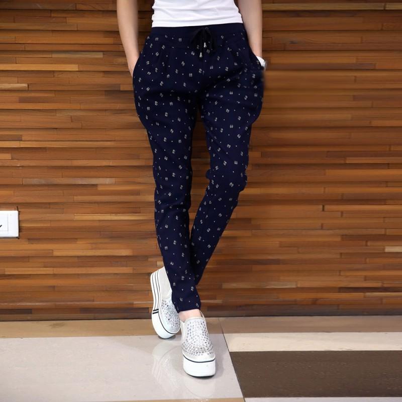 Tallas grandes Otoño Mujer Pantalones Moda Casual Lazo suelto Cintura elástica Lápiz Grandes Pantalones de harén de gran tamaño Pantalones 2017