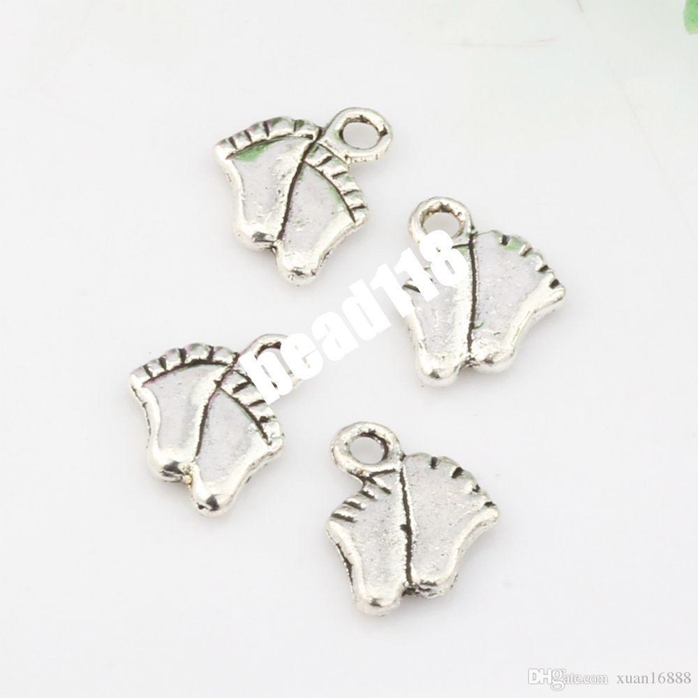 Caliente ! antiguo de plata de aleación de zinc de pie del colgante del encanto DIY joyería 8 * 11.5 mm