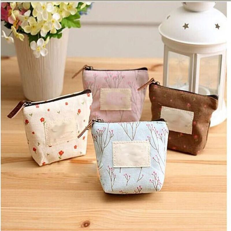 New Korean Foral Printing Canvas coin purse Fresh Garden wind change pocket coin key small wallet organizer holder wallets cosmetic bag B876