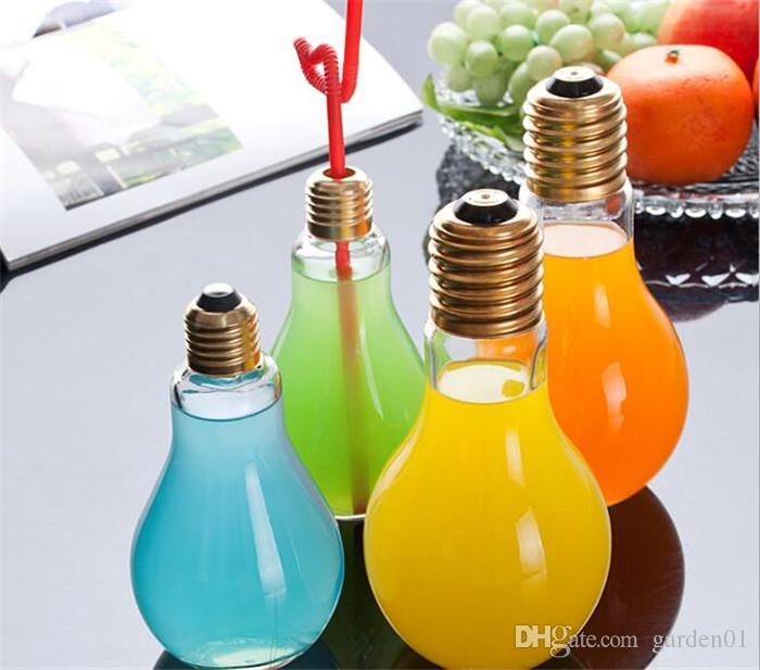 Creativo accattivante Lampadina Forma Tè Succo di frutta Bere Bottiglia Tazza Fiore di vetro Vaso Home Office Decorazione scrivania G103