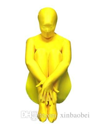Free shipping Yellow Lycra Zentai spandex leotard sexy clothing Cosplay
