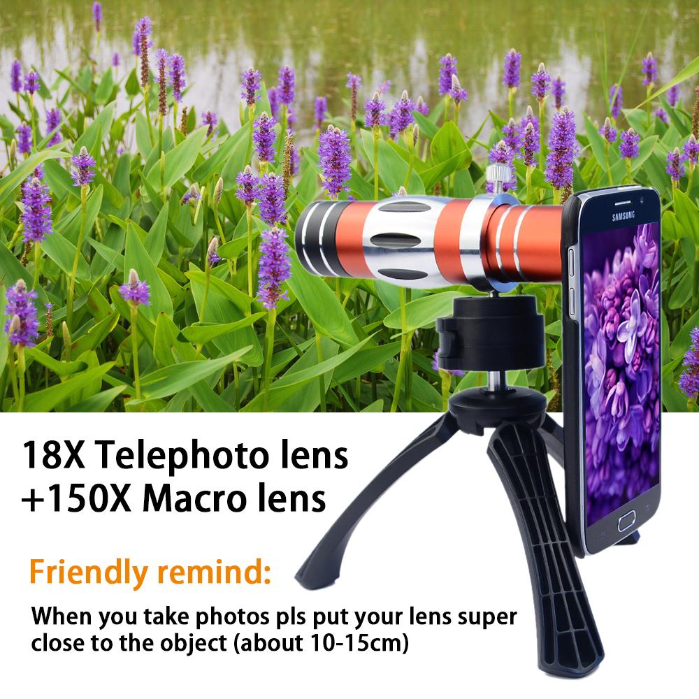 18X Telescope Optical Zoom Lens for Mobile Phone + 150X Macro lens with Back Case and Tripad Camera Lens Kit for iPhone 6 CL-89