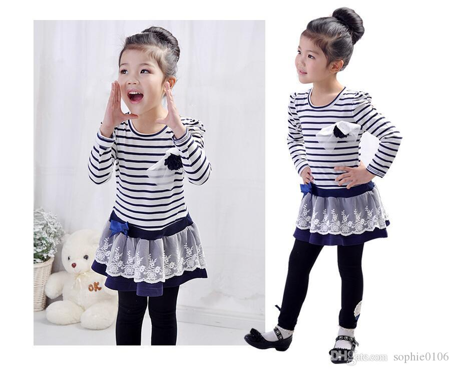 Girls' Dress Striped Flower Long Sleeve Girl Autumn long sleeve Striped Dresses Girl Lace Dresses Kids clothes Cotton Baby Clothing TY 001