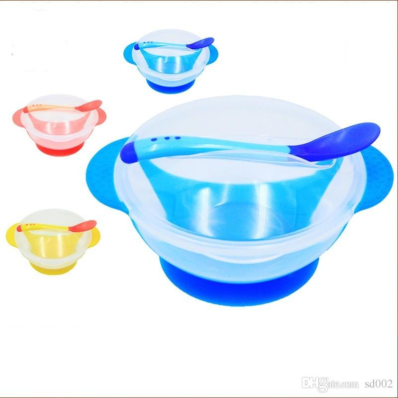 Non Slip Sucker Bowl Kit With Temperature Sensitive Spoon Cover Training Bowls Set Safe Plastic Baby Supplies 2 95xd B
