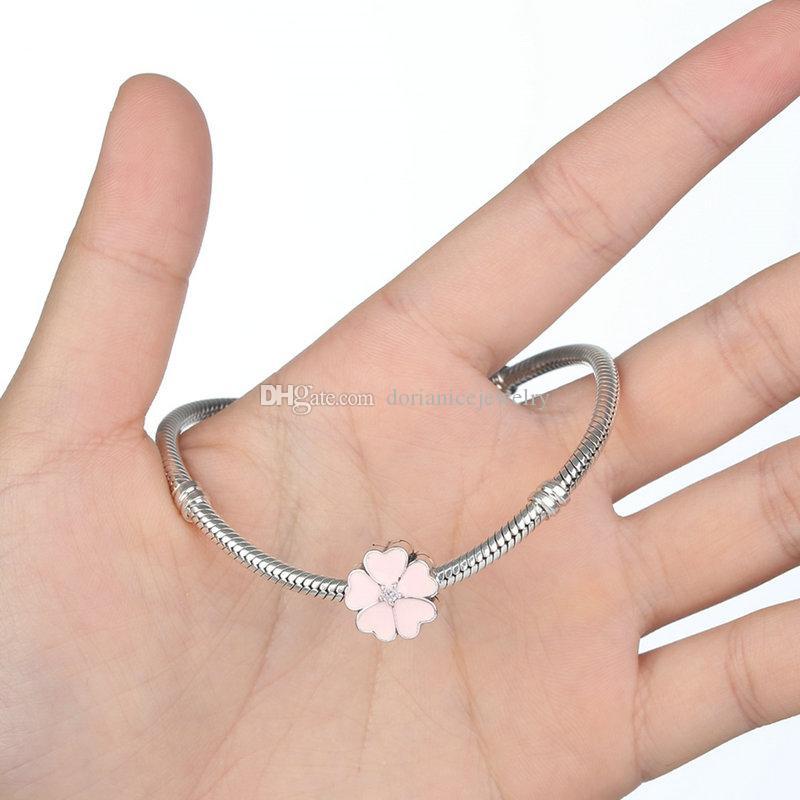 White Primrose Floral Sterling Sliver Clip with Heart-shaped Leaves & Crisp White Enamel for Pandora Style Beaded Charm Bracelets S277