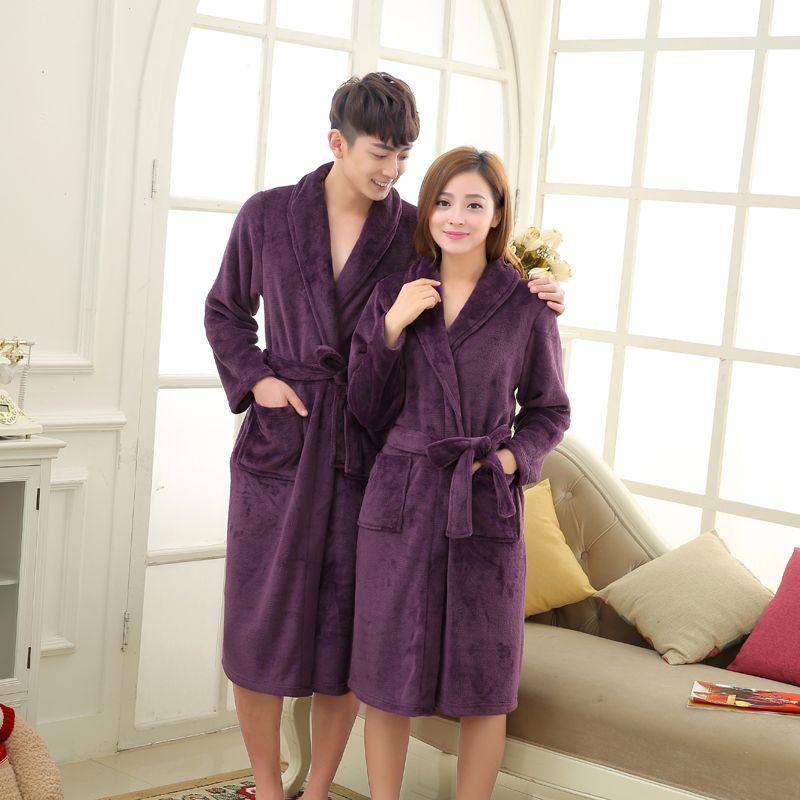 2019 Wholesale Coral Fleece Luxury Flannel Bathrobe Men Long Kimono Robe  Lovers Thick Sleepwear Roupao De Banho Peignoir Homme Albornoz Hombre From  ... e0962d37e
