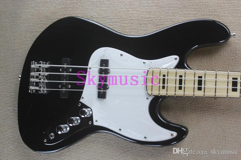 4 Strings Jazz Black Bass Guitar White Pickguard Maple Neck Tuning A From Skymusic 21006