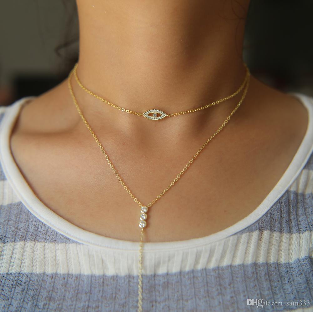 item jewelry metal steel necklaces necklace simple love heart rose full layered chain double from in fate color woman gold fashion pendant layer plated arrow collarbone