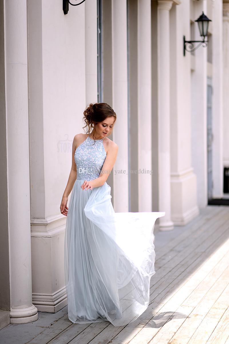 Charming Baby Blue Pailletten Tüll Brautjungfernkleider Jewel Sleeveless Bodenlangen Hellblau Brautjungfernkleider Hochzeitsgast Kleider