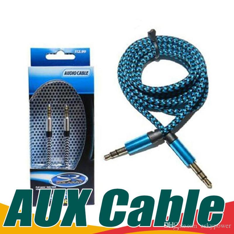 2018 3ft 3.5mm Aluminium Audio Aux Car Extention Cable Braided ...