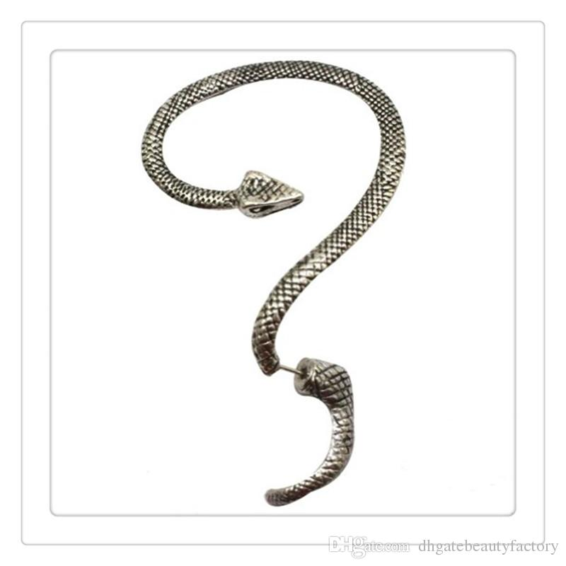 Fashion Temptation Snake Earrings Left Ear Cuff Silver Sexy Twine Wind Temptation Long Snake Stud Earring The Lowest Price Free Shipping