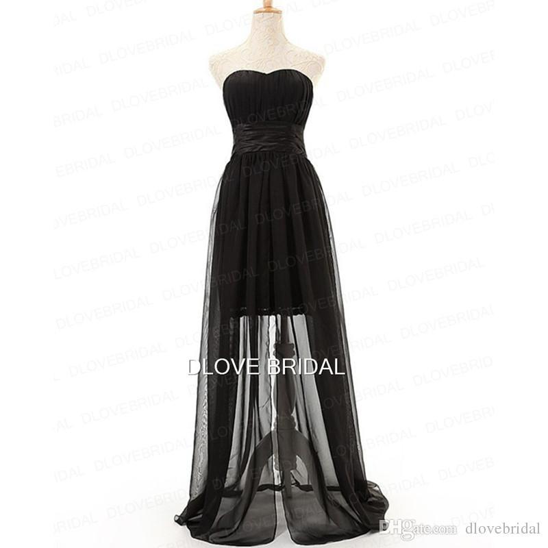 Großhandel Hot Black Chiffon High Low Brautjungfer Kleid Trägerlosen ...