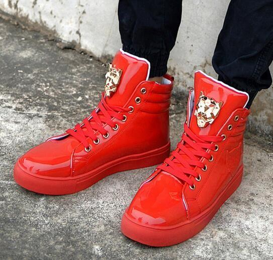 جديد 2017 عالية أعلى عارضة أحذية للرجال بو الجلود الدانتيل يصل أحمر أبيض أسود اللون رجل عارضة أحذية الرجال عالية أعلى الأحذية الشحن مجانا