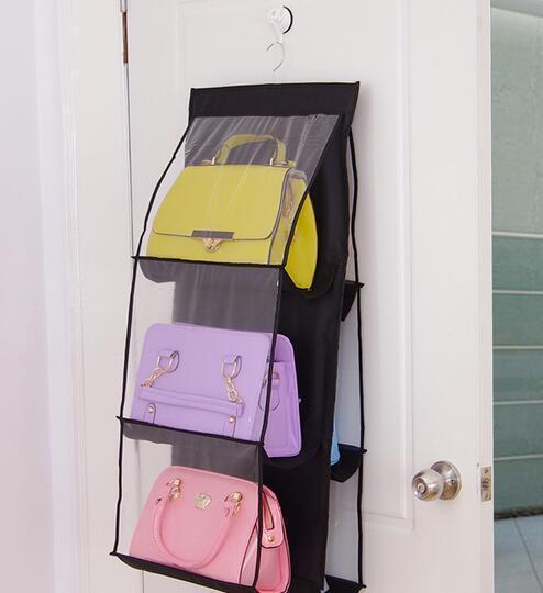 새로운 도착 6 포켓 매달려 저장 가방 지갑 핸드백 토트 백 스토리지 주최자 옷장 랙 걸이 4 색