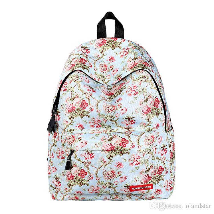 Olandstar Flower Priinted Student Backpack Undergraduate School Bag Lay  Women Girl Bags Nylon Bookbag Bag Travel Backpacks KBB075 School Bag  Student Bag ... 577c0e665a